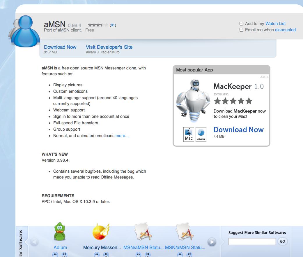 msn messenger pour mac os x 10.4.11