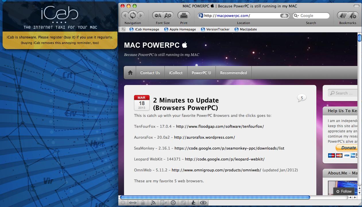 browser | MAC POWERPC 